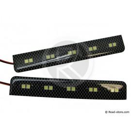 Feu de jour adhésif carbone 10 LEDS 12V blanc