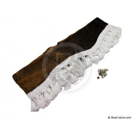 Fransen-Samt Gardine für Windschutzscheibe (2,3m x 20cm) SCHOKOLADE