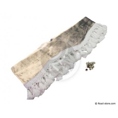Fransen-Samt Gardine für Windschutzscheibe (2,3m x 20cm) BEIGE