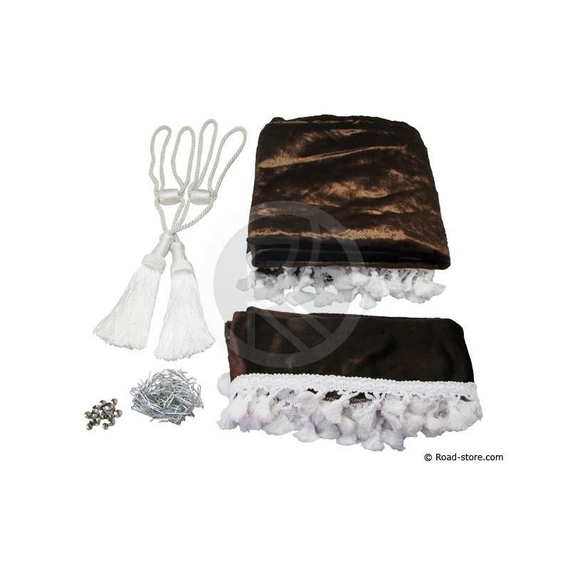 rideaux de cabine satines 5 accessoires chocolat road. Black Bedroom Furniture Sets. Home Design Ideas