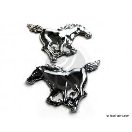 Verchromte 3D-Aufkleber Mustang-Pferde