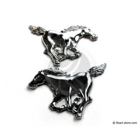 Chromed adhesive Mustang horses strips 3D
