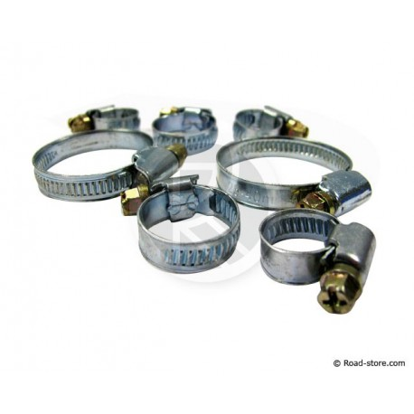 Hose & tube clamps in galvanized iron with screw 7 piece
