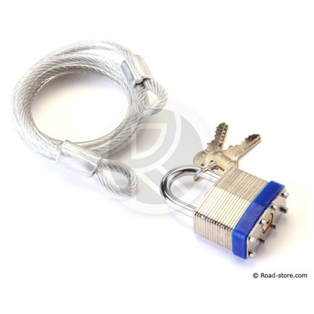 Vorhängeschloss 40mm + Kabel + 2 Schlüssel (L: 100 cm)
