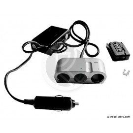 Triple car charger 24V 8A with remote control