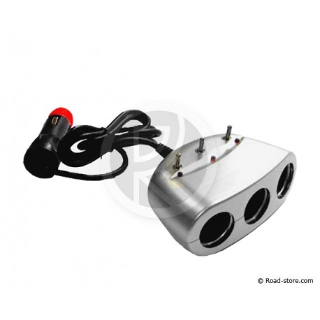 Triple Cigarette Lighter + 3 Switch 12/24V 6A Adhesiv