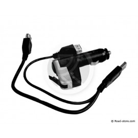 Stecker Zigarettenanzünder USB Port + Doppel Kabel USB 12V 6A.