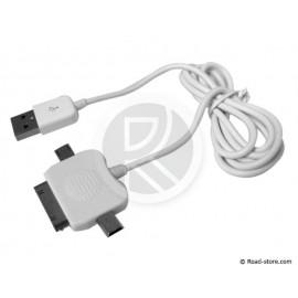 CABLE CONNEXION 3 EN 1 MINI USB + MICRO USB + CONNECTEUR APPLE