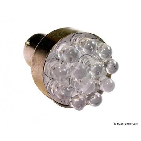 AMPOULE 12 LEDS BA15S 12 VOLTS BLEUE X2