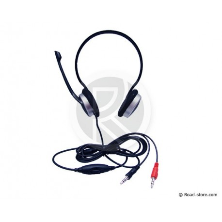 CASQUE STEREO MICROPHONE 2 PRISES JACK 3,5MM