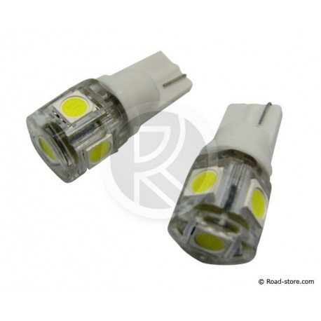 AMPOULE 5 SMD LEDS WEDGE BASE T10 12V BLANCHE X2