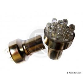 AMPOULE 9 LEDS BA15S 24V ROUGE X2