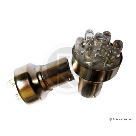 Bulb 9 LEDS BA15S 24V Red X2