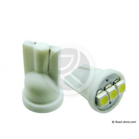 AMPOULE 3 LEDS WEDGE BASE T10 12 VOLTS BLANCHE X2