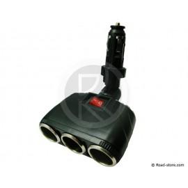 Triple car charger 12/24V twist&lock 8A