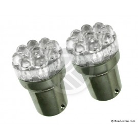 2 Bulbs 9 leds T18-01 24V green