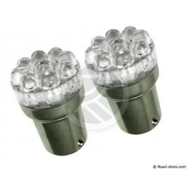 2 Bulbs 9 leds T18-01 24V blue