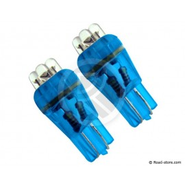 AMPOULE 4 LEDS WEDGE BASE T10 24 VOLTS BLEUE X2