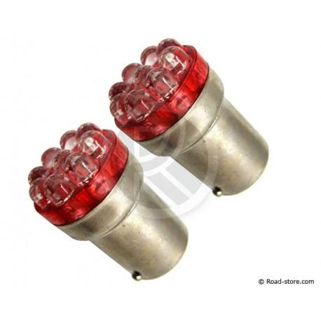 AMPOULE 9 LEDS BA15S 12V ROUGE X2
