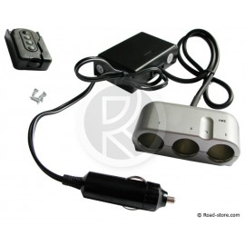 Triple socket with remote control 12V max 5A