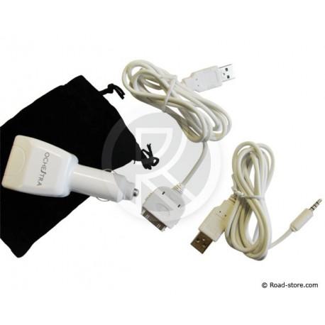 CHARGEUR iPOD & iPOD SHUFFLE 2 PORTS USB 12V