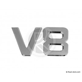 "DECORATION ""V8"" ADH CHROME 3D 9 CM X 1 PCE"