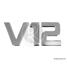 "DECORATION ""V12"" ADH CHROME 3D 9CM X 1 PCE"