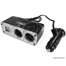 DOUBLE AC 12/24V MAX 5A. + 2 PORTS USB