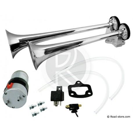 2 trumpets air Horn 24V DC + Air Compressor