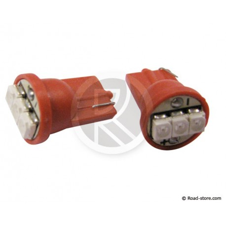 Glühlampe 3 LEDS WEDGE BASE T10 24 VOLTS Rot X2