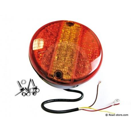 Rundes Rücklicht 63 LEDS 24V DIAM. 14 CM Rot/Gelb