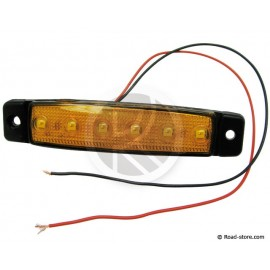 Side clearance lights extra flat 6 leds 24V orange 9,6x2x0,7cm