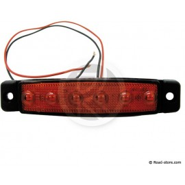 Side clearance lights extra flat 6 leds 24V red 9,6x2x0,7cm