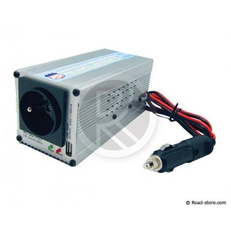 CONVERTISSEUR 12/24V EN 220/240V/200W + PORT USB