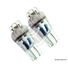 Bulb 4 LEDS WEDGE BASE T10 12V White X2