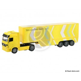 CAMION SEMI 1/32e MERCEDES ACTROS 1857 POT BELLY CONTAINER 40' JAUNE