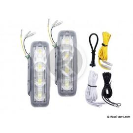 Tagfahrleuchten 4 LEDS 12/24V Weiß + Schalter X2