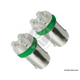 Bulb 4 Leds BA9S 24V Green x2