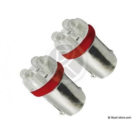 Bulb 4 Leds BA9S 24V Red X2