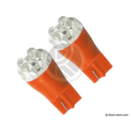 Glühbirne 4 LEDS WEDGE BASE T10 24V ORANGE X2