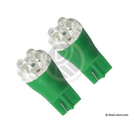 Bulb 4 LEDS WEDGE BASE T10 24V Green X2