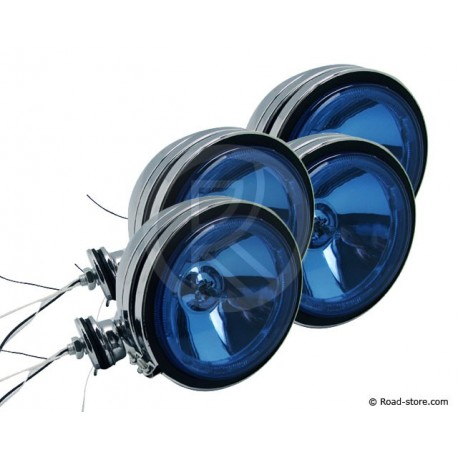4x Headlight long range Blue with Crown 12V