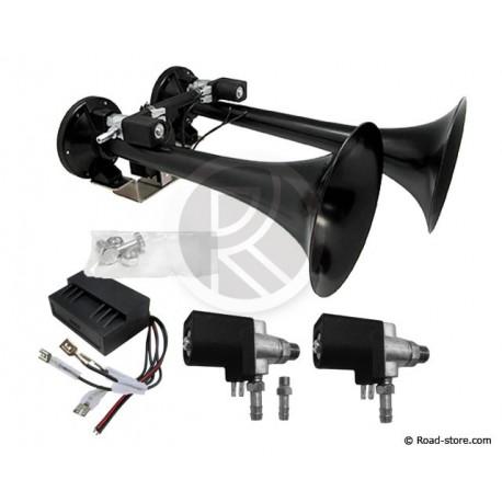 Dual black horn 24V DC + Repair Kit