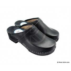 Clog black leather Size 46