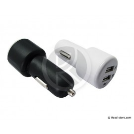 Double Plug USB 12/24V 5V Fast Charge 2100mA black or white