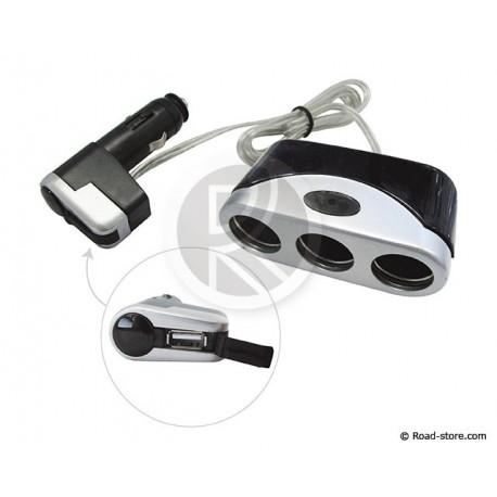Triple Cigarette lighter 12V MAX 6A. + 1 USB Port