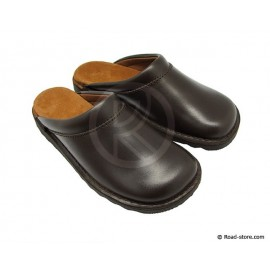 Leather clogs dark brown T.39