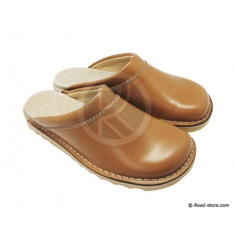 Leather Clogs Light Brown T.45
