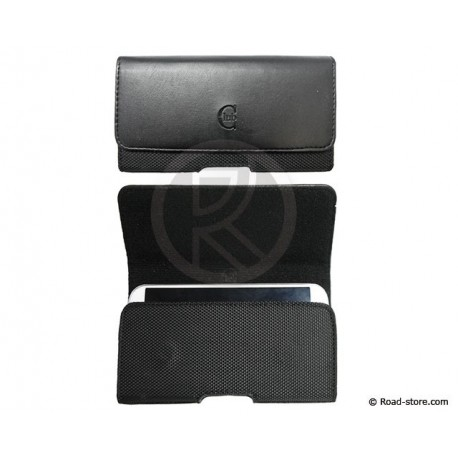 Horizontal Leather Case black with Belt clip Size XL