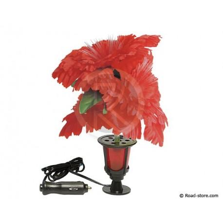 Decoration lighted flower 1 LED 24V Red